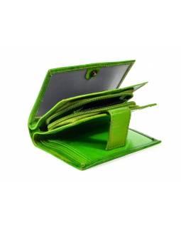 """Kožená peněženka """"Stripes"""", zelená, ručně malovaná, 13x10cm"""