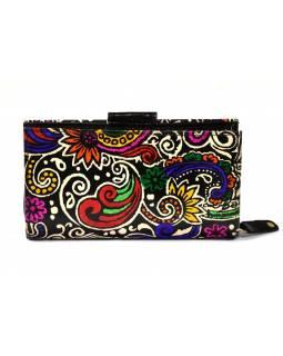 Ručně malovaná kožená peněženka, Paisley, černá, 18x10cm