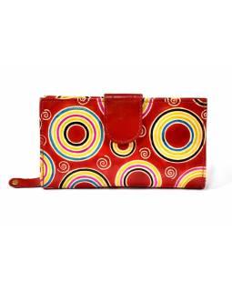 Ručně malovaná kožená peněženka, Circles, červená, 18x10cm