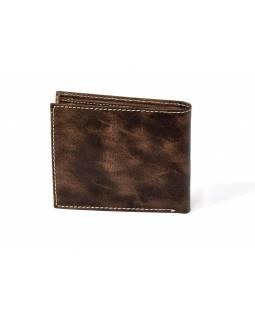 Pánská kožená peněženka, Spiral sun, hnědá měkká kůže, 12x9cm