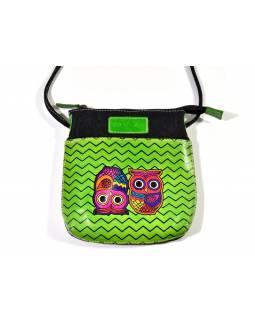 """Zelená kabelka """"Two owls"""", ručně malovaná kůže, bavlna, 21x20cm"""