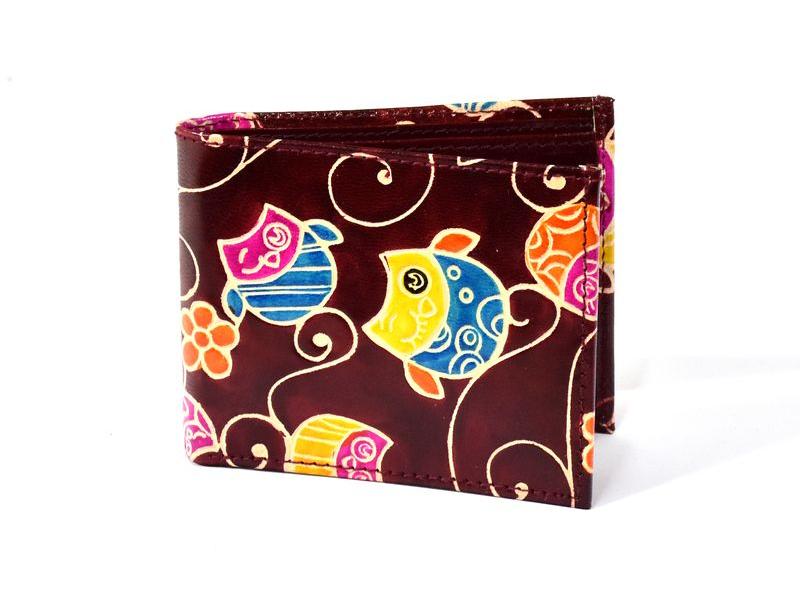 Ručně malovaná kožená peněženka, Happy owls, vínová, 12x9cm