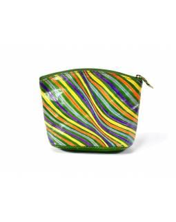 """Ručně malovaný kožený neceser, """"Stripes"""", zelený, 16x10cm"""