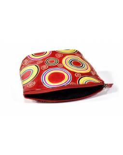 "Ručně malovaný kožený neceser, ""Circles"", červená, 16x10cm"