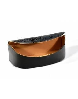 """Pouzdro na brýle, """"Paisley design"""", černá, ručně malovaná kůže, 16x7x5cm"""