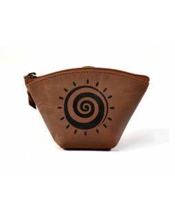 Kožený neceser, měkká kůže, hnědá design spiral sun, 12x8cm
