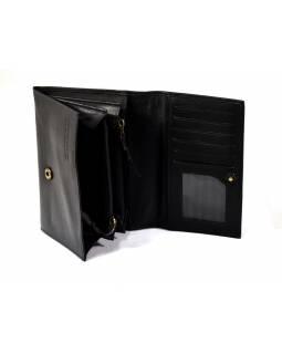 Luxusní peněženka z měkké kůže, černá, design flowers, 16x11cm