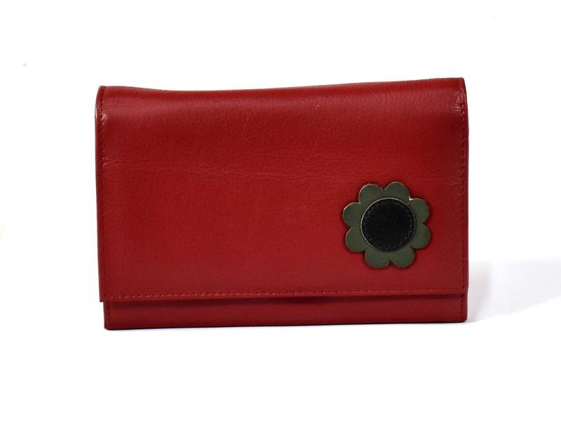 Luxusní peněženka z měkké kůže, červená, design flowers, 16x11cm