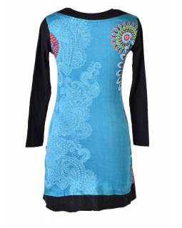 Tyrkysové šaty s dlouhým rukávem, Mandala potisk, V výstřih