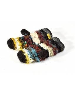 Vlněné rukavice palčáky, patchwork vlna, bavla, hedvábí, černé