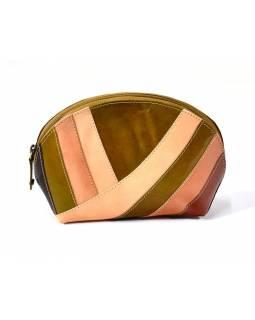 """Kožený neceser """"Stripes"""", hnědá, zip, 20x13cm"""