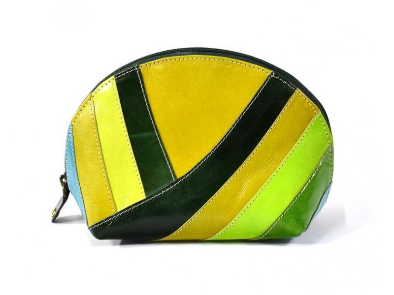 """Kožený neceser """"Stripes"""", zelená, zip, 20x13cm"""