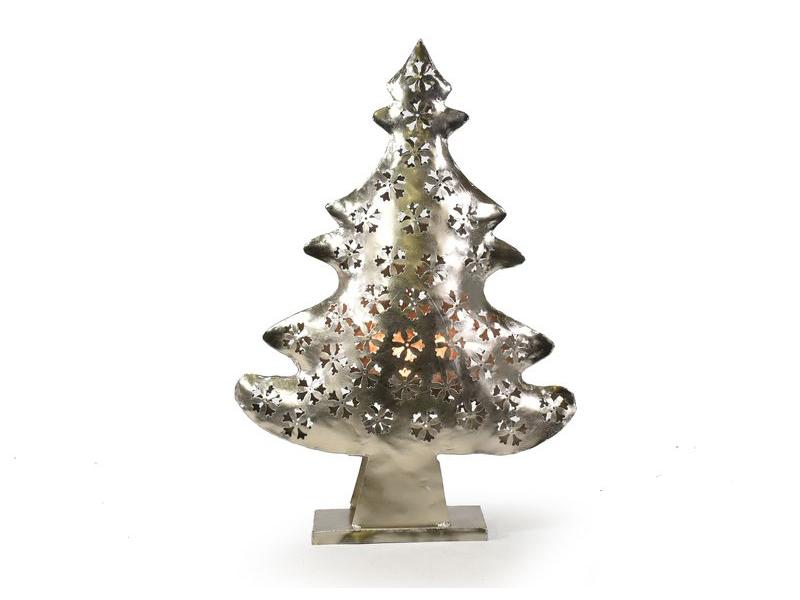 Vánoční stromek, kovový svícen, ruční práce, 54x36x10cm