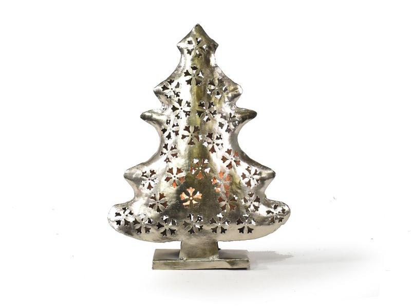 Vánoční stromek, kovový svícen, ruční práce, 40x30x10cm