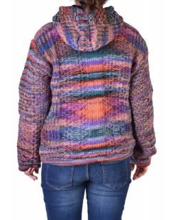 Vlněný svetr s kapucí a kapsami, unisex, fialovo-zelený
