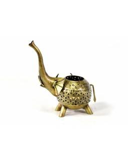 Svícen ve tvaru slona, tepaný kov, ruční práce, 24x26cm