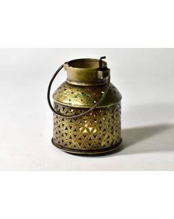 Svícen, tepaný kov, ruční práce, zlatý, 13x15cm