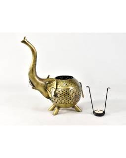Svícen ve tvaru slona, tepaný kov, ruční práce, 26x37cm