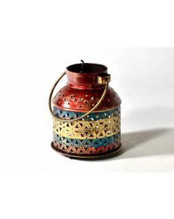 Svícen, tepaný kov, ruční práce, barevný, 13x15cm