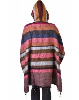 Dámské krátké pončo s kapucí ze šály, kapsa, knoflíčky