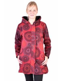 Vínový fleecový kabát s kapucí zapínaný na zip, potisk mandal, kapsy