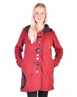 Vínový fleecový kabát s límcem zapínaný na knoflíky, barevné aplikace, potisk