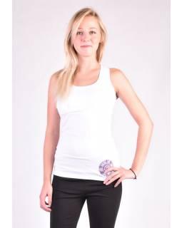 Bílé tílko na jógu z bio bavlny, Chakra potisk a výšivka