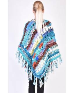 Dámské vlněné pončo, patchwork hedvábí a bavlna, třásně, tyrkysové