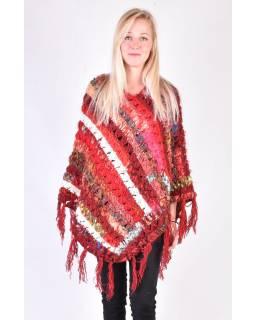 Dámské vlněné pončo, patchwork hedvábí a bavlna, třásně, červené