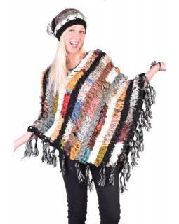 Dámské vlněné pončo, patchwork hedvábí a bavlna, třásně, černé