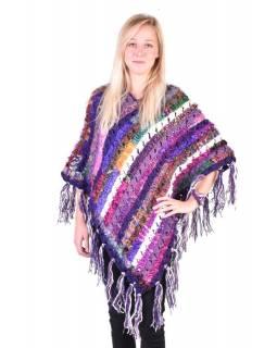 Dámské vlněné pončo, patchwork hedvábí a bavlna, třásně, fialové