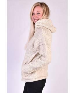 Bílý vlněný svetr s kapucí a kapsami, unisex
