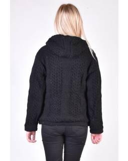 Černý vlněný svetr s kapucí a kapsami, unisex