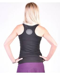 Černé tílko na jógu z bio bavlny, Chakra potisk a výšivka