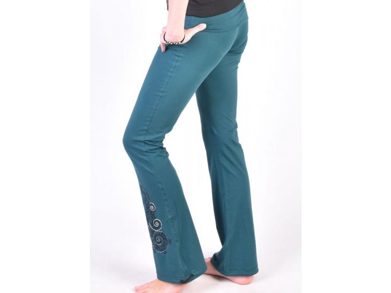 Dlouhé smaragdově zelené kalhoty na jógu z bio bavlnym Kitamari