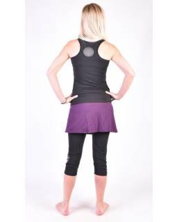 Černé tříčtvrteční kalhoty se sukní na jógu z bio bavlny, Chakra potisk a výšivk