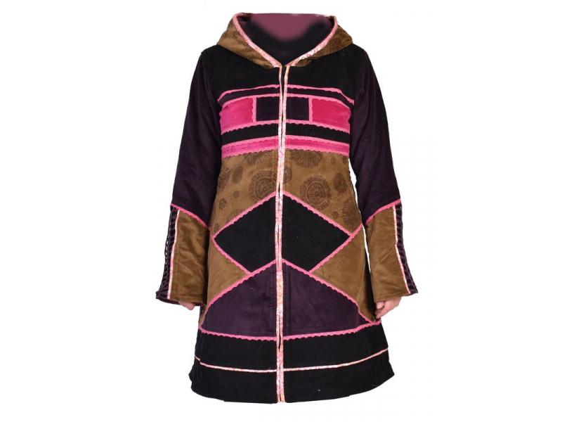 Khaki-růžový sametový kabátek s kapucí, patchwork a Chakra tisk, pletení