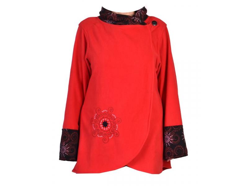 Červeno-černý fleecový kabát s potiskem zapínaný na knoflík, výšivka, kapsy