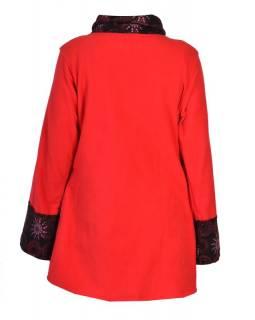 Červeno-černý kabát s potiskem zapínaný na knoflík, výšivka, kapsy