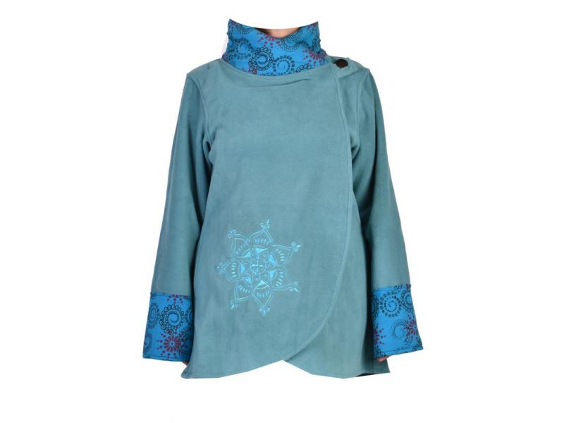 Tyrkysový kabát s potiskem zapínaný na knoflík, výšivka, kapsy
