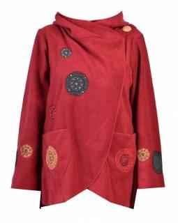 Vínový fleecový kabát s kapucí zapínaný na knoflík, aplikace mandal, výšivka