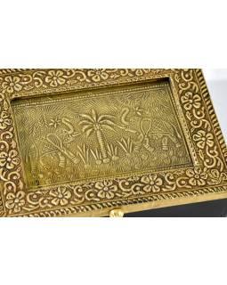 Dřevěná krabička s mosazným kováním, 2 sloni, 18x13x6cm