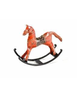 Kovový houpací kůň, oranžový ručně malovaný, 20x21x6,5 cm