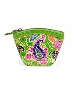"""Kožená peněženka na drobné, """"Paisley design"""", zelená, ručně malovaná, 12x8cm"""