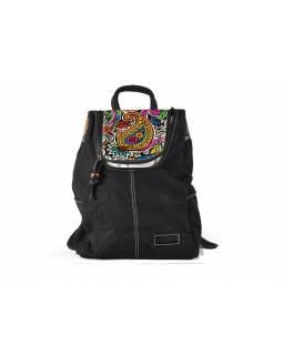Originální batoh, design paisley, kombinace kůže bavlna, 30x40cm
