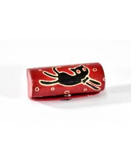 Pouzdro na rtěnku, červená, ručně malovaná kůže, happy cat, 8x3cm