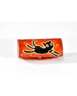 Pouzdro na rtěnku, oranžová, ručně malovaná kůže, happy cat, 8x3cm