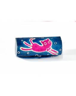 Pouzdro na rtěnku, modrá, ručně malovaná kůže, happy cat, 8x3cm