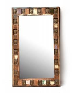 Zrcadlo v rámu zdobeném reliéfy buddhů, antik teak, 150x90x5cm