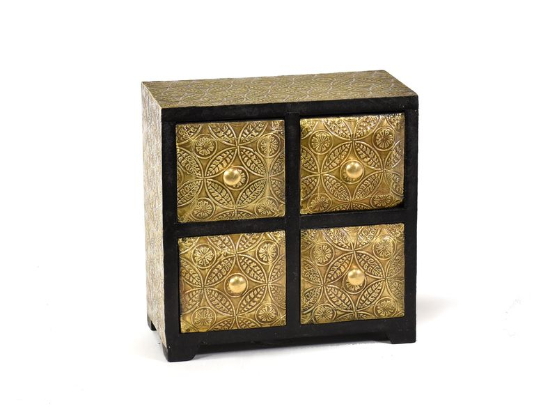 Dřevěná skíňka s mosazným kováním, 4 šuplíky, 20x10x20cm